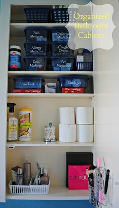 Organizing Medicines, First Aid Supplies & Makeup (Bathroom Cabinet Organization) I have tons of closet space and cabinet space but hardly any drawers. Medicine Organization, Bathroom Cabinet Organization, Closet Organization, Bathroom Cabinets, Organized Bathroom, Cabinet Organizers, Bathroom Drawers, Bathroom Shelves, Konmari