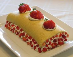 """Strawberry Roll Cake from Food.com:   This is a light and tasty dessert that can be prepared, served and enjoyed any time during the year. It is also delicious when made with other seasonal fruits besides strawberries...such as blueberries, raspberries, blackberries, pineapple, kiwi, etc...and you can even add cocoa powder to make it a """"chocolate"""" roll cake. A flavor for every mood! Enjoy!"""