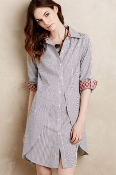 Tilda Tulip Hem Shirtdress - anthropologie.com  a men's shirt upcycle inspiration...two men's shirts of same stripe...alternate fabric at sleeves and collar