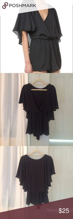 Brandy Melville Romper Cute, black romper from brandy Melville! Flowy open sleeves. One size but fits an XS/S! Never worn Brandy Melville Pants Jumpsuits & Rompers