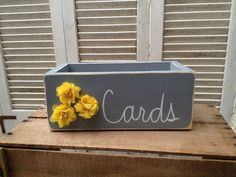 Distressed Gray and Yellow Wedding Cards Box by SassySouthernCharm, $20.00