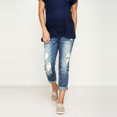 The Ten Best Maternity Jeans Under $100// #4 A Pea in the Pod Luxe Essentials Denim Boyfriend Maternity Jean