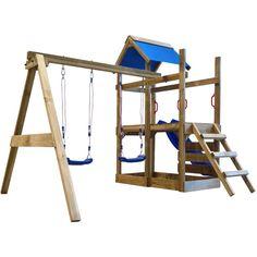 Portique de jeu en bois avec échelle, toboggan et balançoires M - 271736 - Jardin piscine