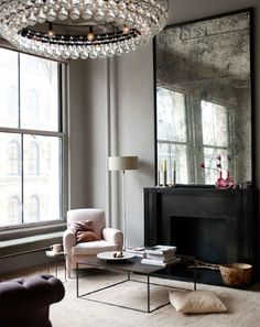 Smoky mirror over the fireplace.