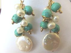 Turquoise and white coin pearl earrings 14k by LorenzoLogassio, $50.00