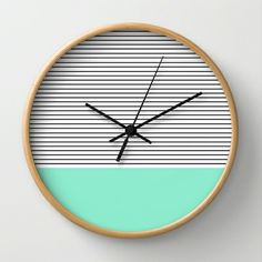 Minimal Mint Stripes Wall Clock