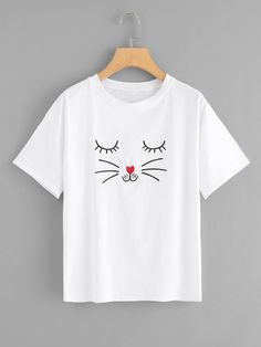 Cat Print T-shirt , This t-shirt is Made To Order, one by one printed so we can control the quality. Shirt Print Design, Shirt Designs, T Shirt Painting, T Shirt World, White T, Printed Tees, Direct To Garment Printer, Short, Diy Clothes