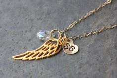 Angel wing monogram initials heart birthstone crystal gold necklace