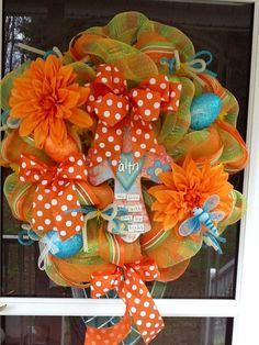 Orange Easter Mesh Wreath. $115.00, via Etsy.