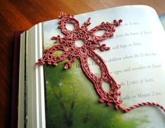 Crochet Bookmark Cross Lace Handmade Tea Rose by Draiguna on Etsy