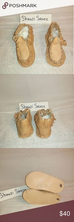 Handmade Genuine Leather Moccasin Super cute two tone handmade genuine leather baby moccasins. Made by in Artisan in the Andes Mountains of Venezuela. Slight spotting on the leather. Shoes Moccasins