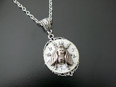 Steampunk Necklace Fly Wedding Bridal Bride Groom Fantasy Insect Wings Vintage Watch Face Noir Gothic Jewelry Steam Punk Jewellery