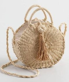 Cost Plus World Market Natural Straw Circle Crossbody Bag with Tassel - Most Beautiful Bag Models 2019 Sisal, Ethnic Bag, Straw Handbags, Basket Bag, Crochet Handbags, Knitted Bags, Beautiful Bags, Straw Bag, Purses And Bags