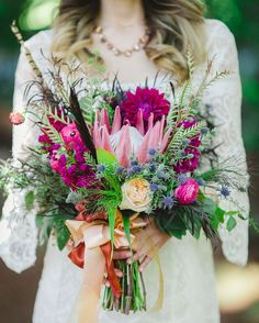 22 Incredible Autumn Wedding Bouquets you'll LOVE | purple autumn boho wedding bouquet | weddingsonline