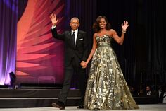 The First Lady wore this stunning gold Naeem Khan gown to thePhoenix Awards Dinner in Washington, DC.