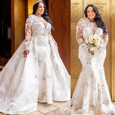Plus Size Wedding Dress Detachable Jewel Lace African Bridal Gowns True Style Never Dies Sheer Wedding Dress, Plus Size Wedding Gowns, African Wedding Dress, Lace Mermaid Wedding Dress, Sexy Wedding Dresses, Bridal Lace, Mermaid Dresses, Bridal Dresses, Lace Wedding
