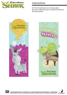 Printable Shrek Bookmarks - Pucker Up Princess!