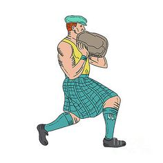 Stone Throw Highland Games Athlete Drawing by Aloysius Patrimonio
