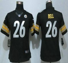 93dcf270641 Women's Pittsburgh Steelers Jersey 26 LeVeon Bell Black Team Color NFL Nike  Limited Jerseys Pittsburgh Steelers