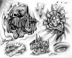 Gangsta Tattoo Flash At Bluecanvas The Artist Network Design