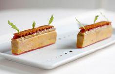Confit of duck liver foie gras, rhubarb, spiced bread