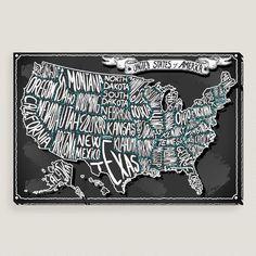 USA on Vintage Handwriting Blackboard Wall Art | World Market