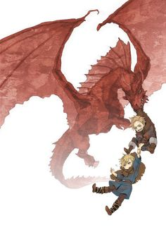 Arne (head-canon name for Denmark), Sigurd (head-canon name for Norway) and a dragon - Art by 持田