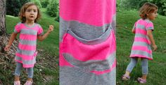 playdate t-shirt dress in large neon pink and grey stripes