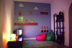 pi-xl's Mario-themed video game room  bed room wall!