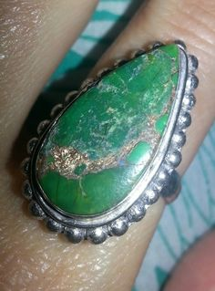 GORGEOUS GREEN COPPER TURQUOISE GEMSTONE RING, SZ 6.5~FREE SHIPPING! GIN