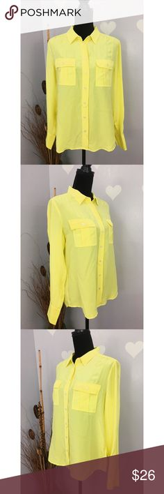 J. Crew Women's Bright Yellow Silk Blouse Sz 8 Good condition. No flaws. 100% silk  Size label 8  Measurements are taken flat, might be off couple inches Length: 26 Armpit across: 20.5 Sleeve: 24 3/4 J. Crew Tops Blouses