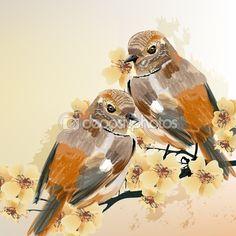Pareja de aves se sienta en un árbol floreciente de la rama — Vector de stock…