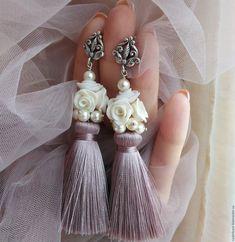 """Купить Серьги кисти """"Время белых Роз"""" - серьги, сережки, серьги кисти, серьги кисточки"""