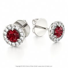 Classical Halo Ruby Earrings DESIRE #ruby #earrings