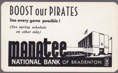 1970 PITTSBURGH PIRATES MANATEE NATIONAL BANK BASEBALL POCKET SCHEDULE FREE SHIP