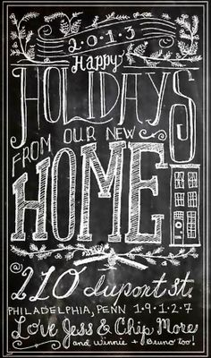 hand lettered chalk art holiday card/new home announcement