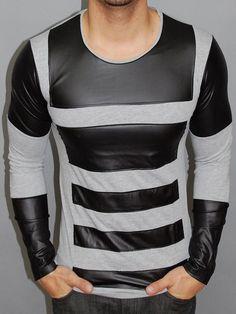 P&V Men Faux Leather Bars L/S T-Shirt - Gray