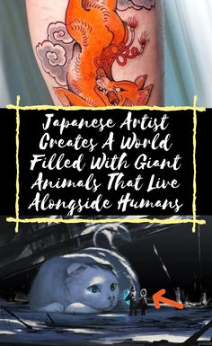 Ariduka55, also known as Monokubo in social media circles, is a 24-year-old Japanese artist. Finding her inspiration in natural landscapes and the illustrations of a variety of other artists, she got the idea to include giant animals living beside their human counterparts from Studio Ghibli. Japanese #Artist #Creates #A #World #Filled #With #Giant #Animals #That #Live #Alongside #Humans