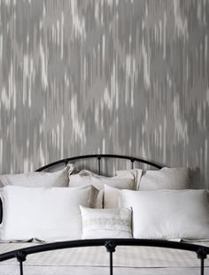 Grey ikat wallpaper for wall along stairs (maybe).
