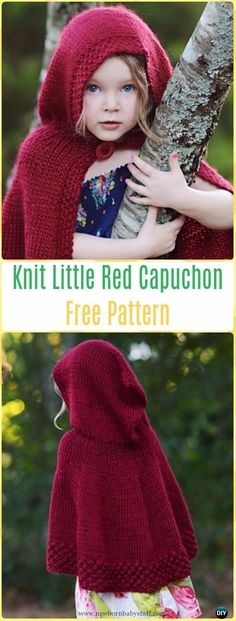 Baby Knitting Patterns Knit Little Red Capuchon Free Pattern - Knit Baby Sweater Ou...