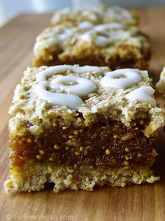 These look like super-extra-tasty version of Fig Newtons! I always thought those cookies could do with more fig. (my notes: 16 bars, each, calculated without powdered sugar glaze, nutrition in myfitnesspal) Vegan Treats, Vegan Desserts, Just Desserts, Dessert Recipes, Passover Desserts, Pancake Recipes, Crepe Recipes, Plated Desserts, Potato Recipes