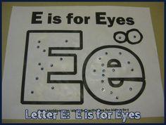 E is for Eyes Alphabet Activites for Kids Free Worksheet