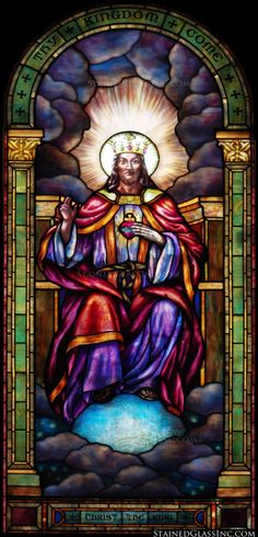 """""""Christ on His Heavenly Throne"""" Religious Stained Glass Window"""