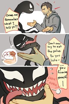 He learned so fast Venom Comics, Marvel Venom, Marvel Dc Comics, Marvel Heroes, Marvel Avengers, Funny Marvel Memes, Avengers Memes, Funny Comics, Deadpool