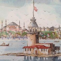 #istanbul #istanbulcity #resim #resimsanatı #suluboya #suluboyaresim #watercolor #aquarelle #ayasofya #hagiasophia #kızkulesi #maidenstower #colorful #city #sea #houses #gittigidiyor