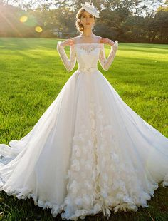 A-line Square Neckline Long Sleeves Sash Bow And Long Tailing Organza Wedding Dress [111505005] - Veaul.com