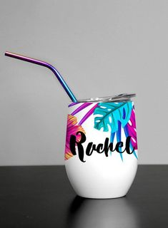 Check out these Tropical Palm custom 12 oz. double walled, thermal insulated, stemless wine tumblers from Resis-Dentz Denim + Design. Personalized Bridesmaid Gifts, Personalized Tumblers, Custom Tumblers, Posca, Wine Tumblers, Pottery Painting, Tropical, Gift For Lover, Floral