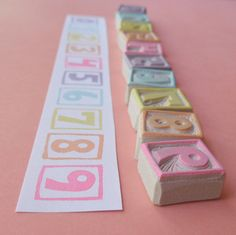 numbers - hand carved rubber stamps