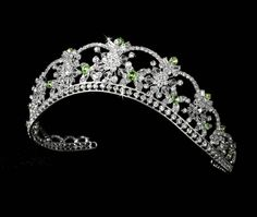 This radiant 'Kate' princess crystal wedding tiara, sparkles with an opal inspired AB flower pattern of Swarovski crystals. Inspired by the Royal Wedding, view our Regal wedding tiara collection online today. Bridal Tiara, Wedding Jewelry, Gold Jewelry, Quinceanera Tiaras, Quinceanera Decorations, Quinceanera Party, Silver Tiara, Black Tiara, Red Rhinestone