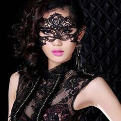 One PCS Sexy Lace Hollow Out Half-Face Carnival Party Mask For Women